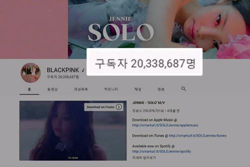 女团BLACKPINK的YouTube订阅数突破2000万