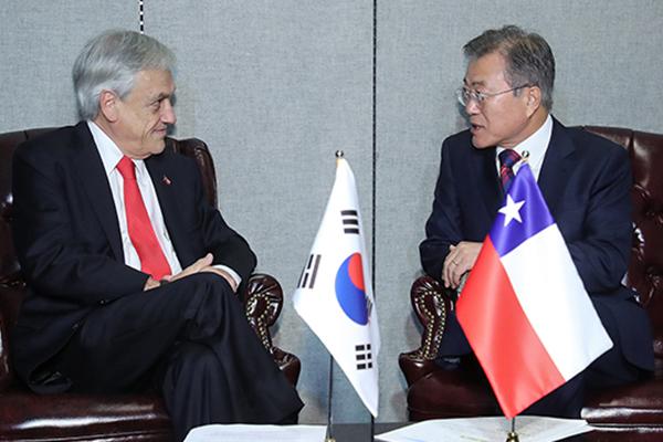 韓国チリ首脳会談 韓国の太平洋同盟への参加など議論