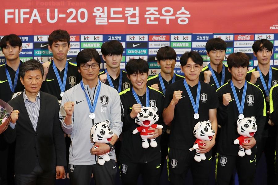 韩国20岁以下足球代表队衣锦还乡