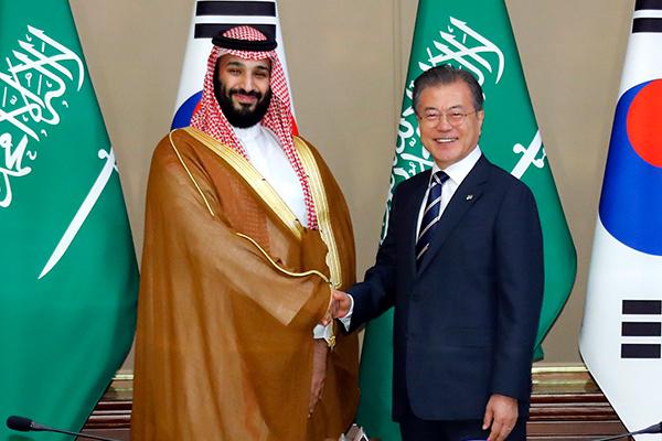 사우디 실권자 '무함마드' 왕세자 첫 방한…'5조 투자'에쓰오일 공장 준공식 참석