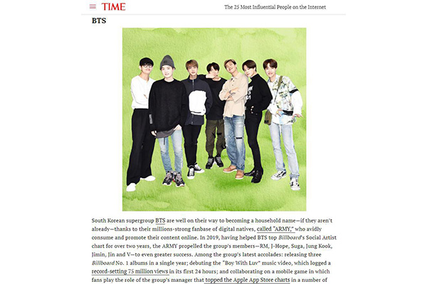 BTS Makes Time's Most Influential Online Figures List for 3rd Consecutive Year