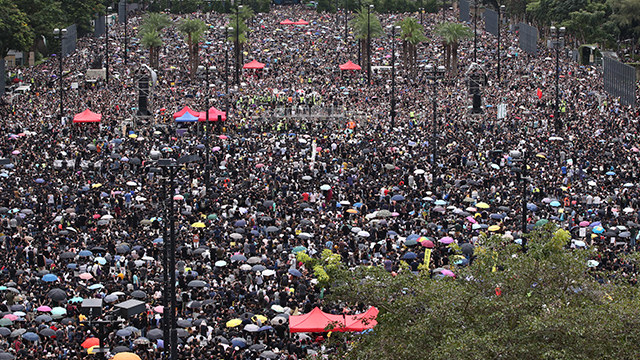 Hong Kong Protesters Flood Streets for Eleventh Consecutive Weekend
