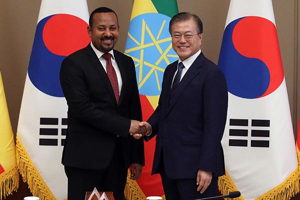 Präsident Moon und Äthiopiens Ministerpräsident führen Gipfelgespräch