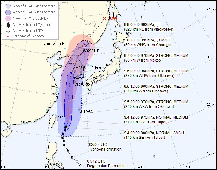 Typhoon Lingling Expected to Directly Hit Korean Peninsula