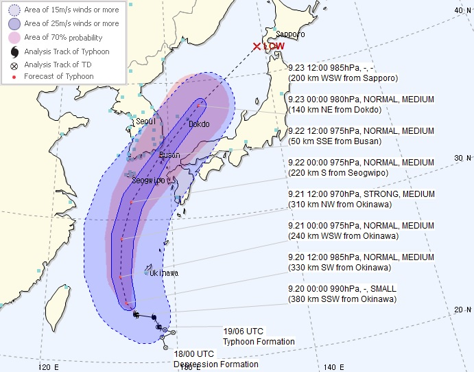 Typhoon Tapah Expected to Reach Waters off Busan Sunday Night