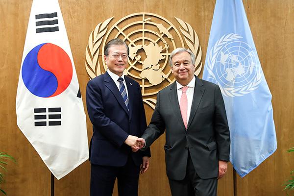 Мун Чжэ Ин встретился с генсеком ООН Антониу Гутерришем