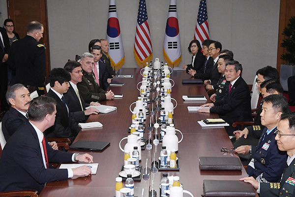Jeong, Esper Agree to Continue Trilateral Security Cooperation against N. Korea Threats