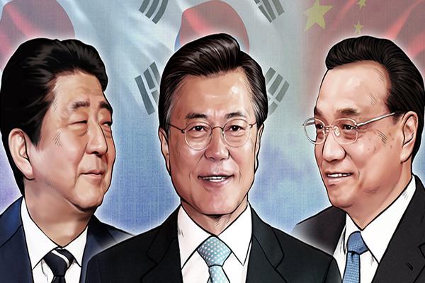 Präsident Moon wird in Chengdu Ministerpräsidenten Japans und Chinas treffen