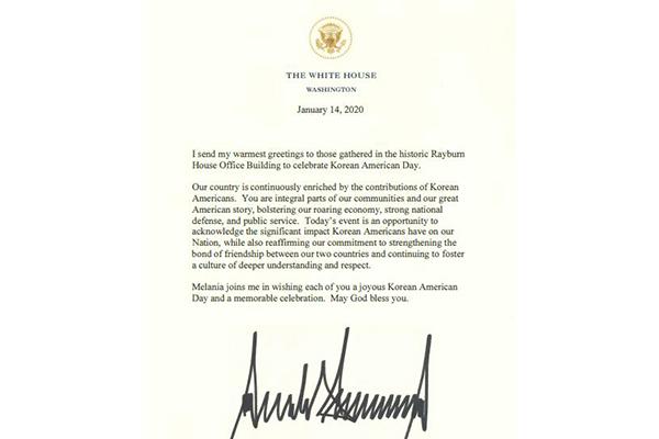 Donald Trump adresse ses félicitations pour la journée des Coréens-Américains