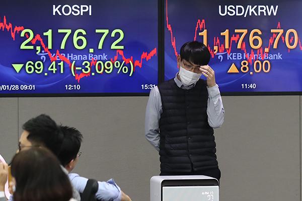 韓国株式市場の総合株価指数が急落 新型コロナウイルスが影響