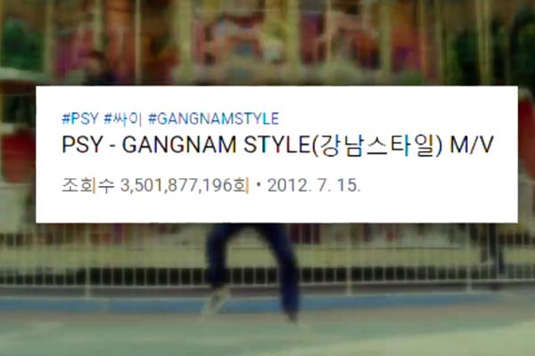 """""""Gangnam Style"""" đạt hơn 3,5 tỷ lượt xem trên YouTube"""