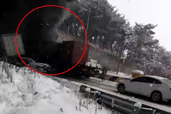 One Dead, 37 Injured in Highway Pileups