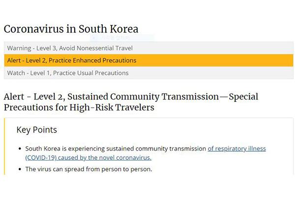Mỹ nâng cảnh báo du lịch tới Hàn Quốc lên mức 2