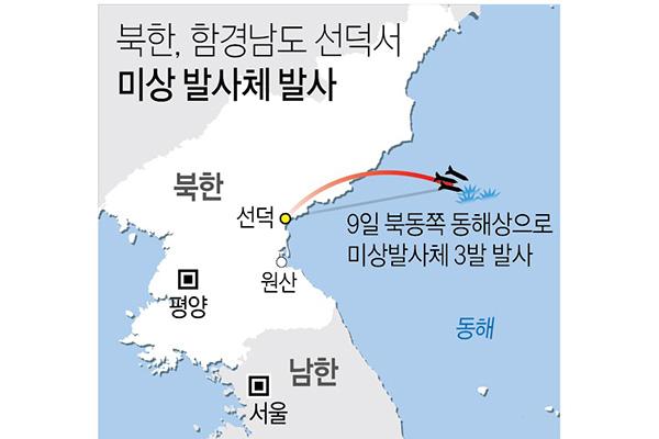 КНДР запустила три снаряда малой дальности в направлении Восточного моря