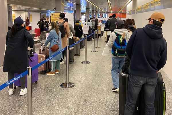 309名意大利米兰撤侨搭乘包机返韩