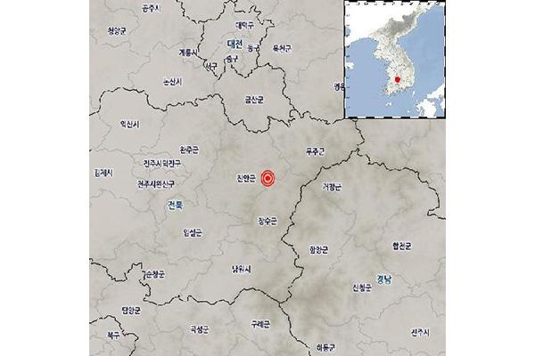全北长水郡以北17公里处发生2.8级地震