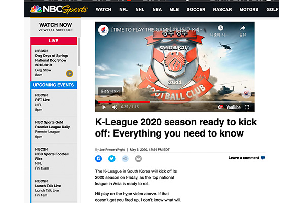 Báo Mỹ đưa tin về giải bóng đá K-League 2020 trước thềm khai mạc
