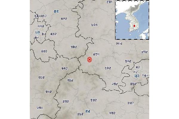 慶尚北道金泉市で地震 M2.8
