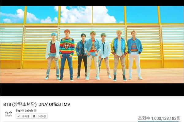 """Musikvideo zu """"DNA"""" von BTS bei YouTube über eine Milliarde Mal aufgerufen"""