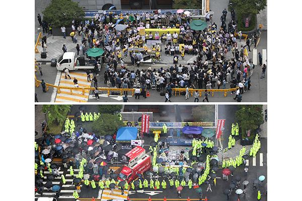 또 밀려난 수요시위…연합뉴스 앞도 보수단체가 선점