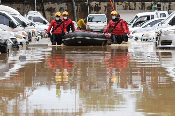 韩大田和全北区域暴雨成灾 遭成1人死亡、1人受伤、灾民达150人