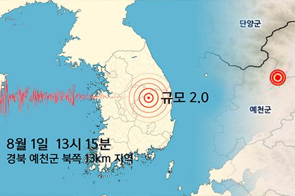 경북 예천군 부근에서 규모 2.0 지진…피해 없을 듯
