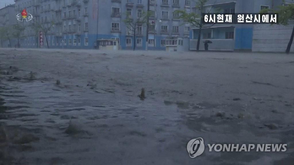 """북한 강원도 곳곳 '마이삭'에 초토화…""""원산 3시간새 132㎜ 비"""