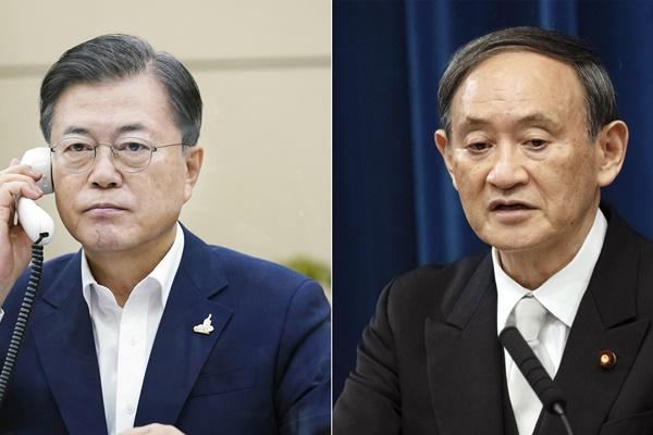 Tổng thống Moon Jae-in lần đầu điện đàm với tân Thủ tướng Nhật Bản