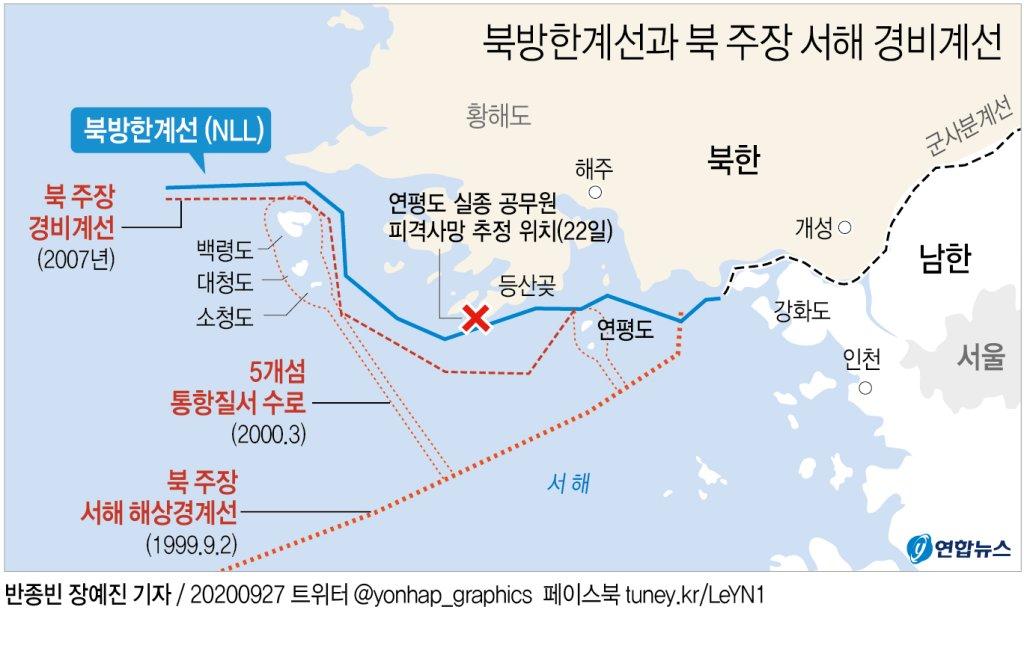 軍, NLL 이남 수색 중인데…北이 침범 주장 '해상분계선' 주목