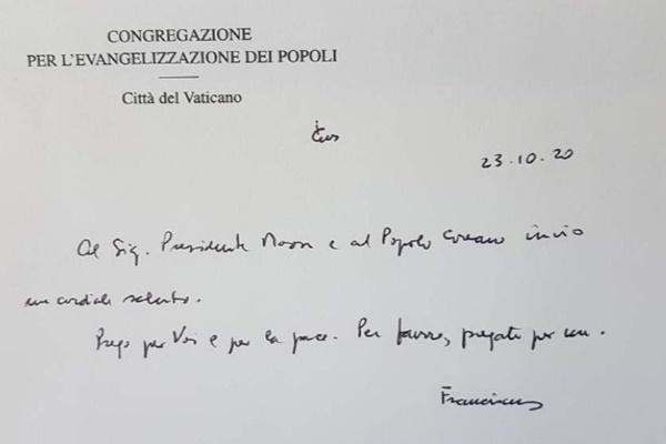Difunden el mensaje manuscrito del papa hacia Corea