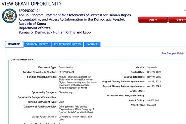 Washington annonce des subventions pour les activistes des droits de l'Homme en Corée du Nord