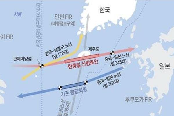 済州島南端の航空回廊 管制権を韓国に一本化