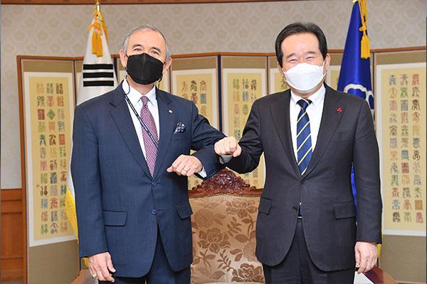 丁世均接见离任美驻韩大使:望继续关心韩美同盟发展