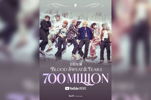"""Blood Sweat & Tears"" erreicht als siebtes Musikvideo von BTS 700 Millionen YouTube-Klicks"
