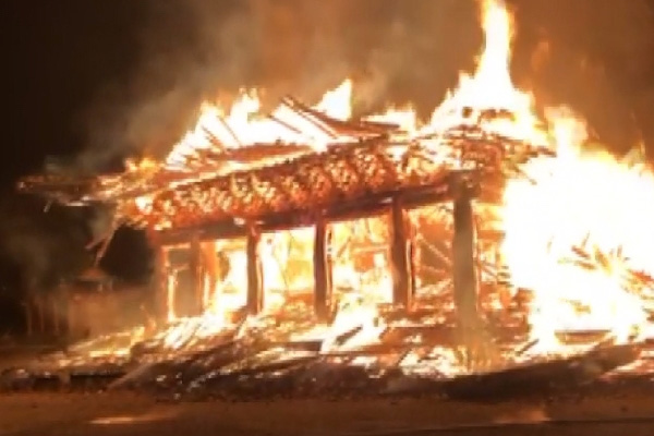 Fire Burns Down Main Hall at Centuries-old Buddhist Temple