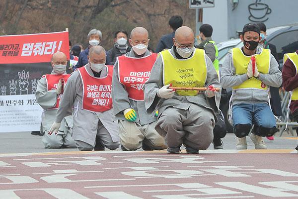 韓国でミャンマー応援の市民デモ 韓国政府も制裁措置発動へ
