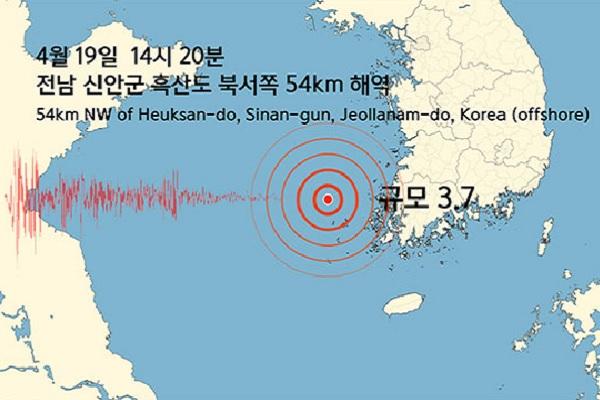 Gempa 3,7 SR Terjadi di Laut Lepas Pulau Heuksando, Korsel
