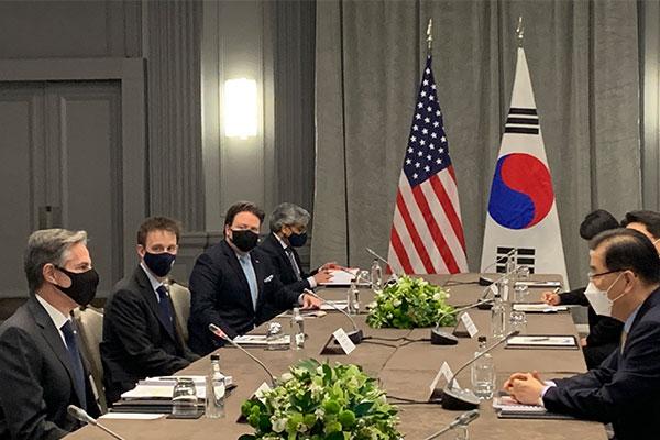 韓米外相会談を開催 鄭長官、米国の対北韓政策に「歓迎の意」
