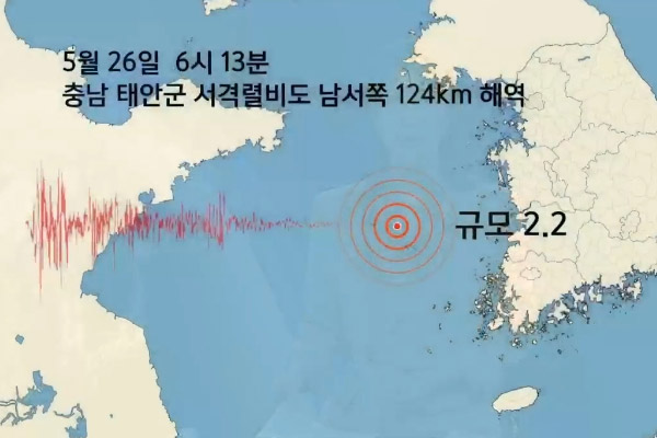 Gempa Bumi Berkekuatan 2,2 SR Terjadi di Laut di Sekitar Provinsi Chungcheong Selatan