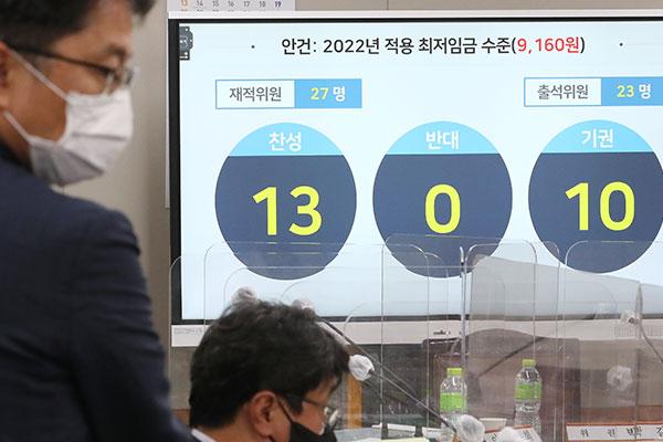 Lương tối thiểu năm 2022 tại Hàn Quốc là 9.160 won (7,99 USD)/giờ