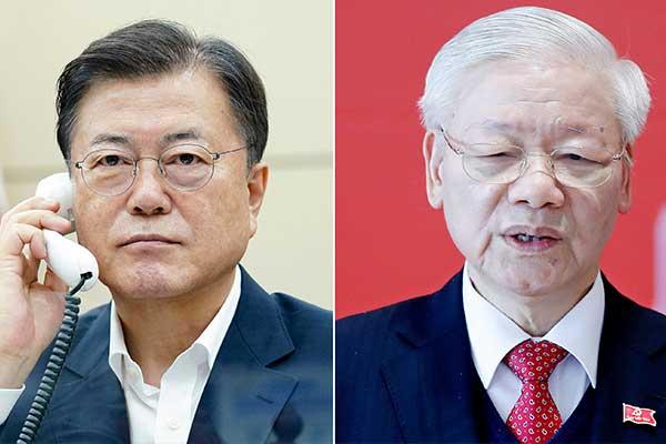 Tổng thống Moon Jae-in điện đàm với Tổng Bí thư Nguyễn Phú Trọng