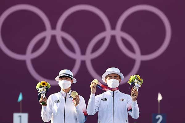 東京五輪 韓国が初の金メダル アーチェリー混合で