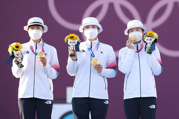 韩国女子射箭团夺得奥运会团体赛金牌 实现9连冠