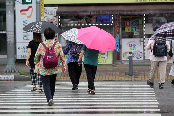 Dernier jour de Chuseok sous la pluie