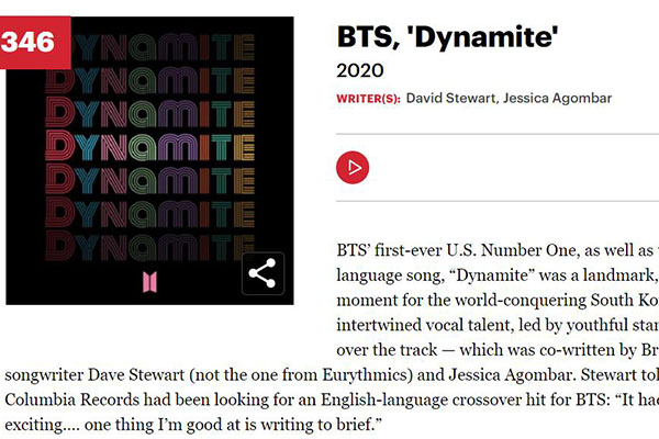 "Lagu BTS, ""Dynamite"", Masuk Daftar 500 Lagu Terbaik Sepanjang Masa Versi Rolling Stone"