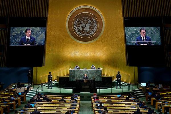 A l'Onu, Moon Jae-in propose une rencontre à 3 ou à 4 pour clore officiellement la guerre de Corée