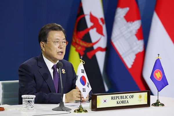 Präsident Moon ruft zur Unterstützung einer Kriegsende-Erklärung auf