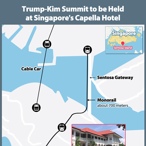 Trump-Kim Summit to be Held at Singapore's Capella Hotel