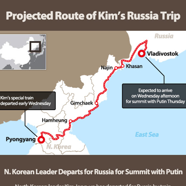 Projected Route of Kim's Russia Trip