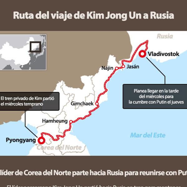 Ruta del viaje de Kim Jong Un a Rusia